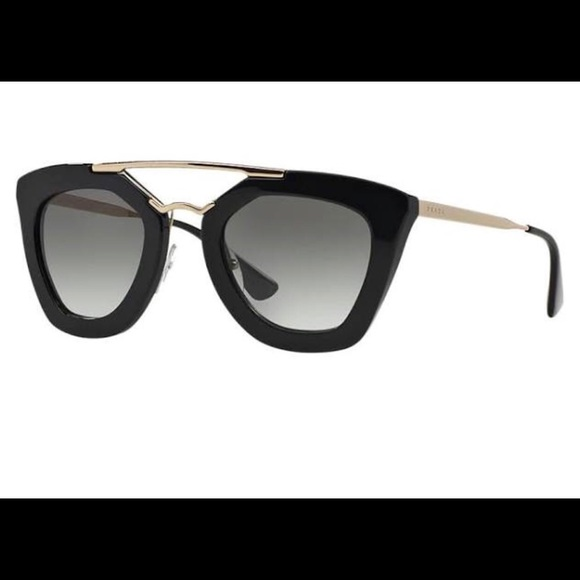 0b6dd706eef30 Prada PR 09QS cat eye black sunglasses. M 5a989fe75512fd4f31b5c2e6